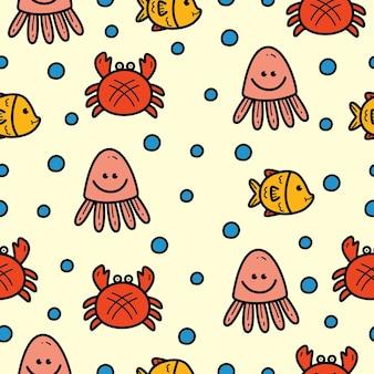Diseño de patrón de dibujos animados de animales marinos