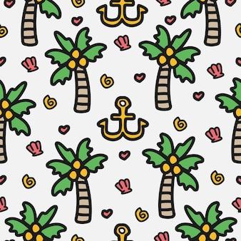 Diseño de patrón de dibujos animados de doodle de árbol de coco