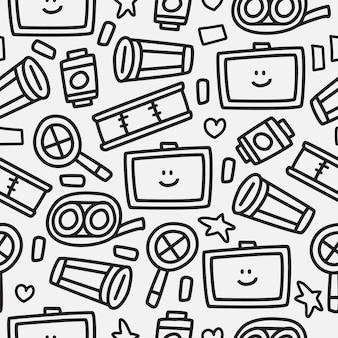 Diseño de patrón de dibujos animados doodle dibujado a mano