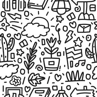 Diseño de patrón de doodle de dibujos animados abstractos