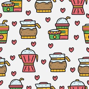 Diseño de patrón de doodle de dibujos animados de café