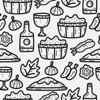 Diseño de patrón de doodle de dibujos animados de comida japonesa dibujada a mano