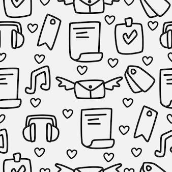 Diseño de patrón de doodle de dibujos animados dibujados a mano