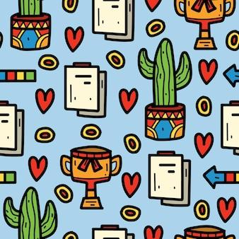 Diseño de patrón de doodle de dibujos animados kawaii dibujados a mano