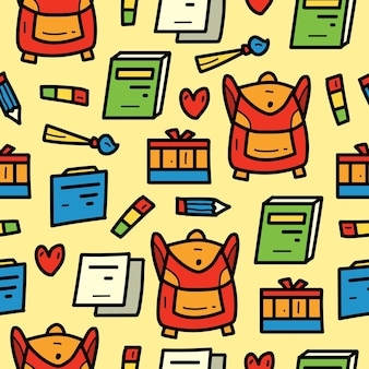 Diseño de patrón de doodle de dibujos animados kawaii de escuela