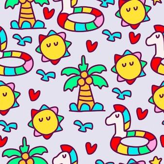Diseño de patrón de doodle de dibujos animados kawaii