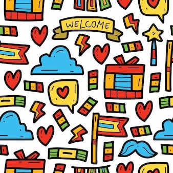 Diseño de patrón de doodle de dibujos animados lindo partido dibujado a mano