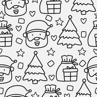 Diseño de patrón de doodle de dibujos animados de navidad