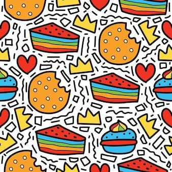 Diseño de patrón de doodle de dibujos animados de postre dibujado a mano