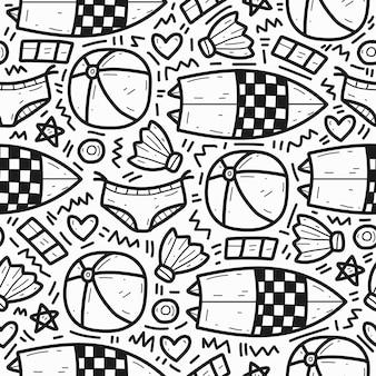 Diseño de patrón de doodle de dibujos animados de verano dibujado a mano