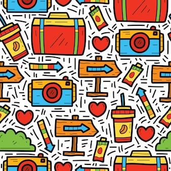 Diseño de patrón de doodle de dibujos animados de viaje
