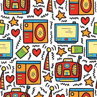 Diseño de patrón de doodle electrónico de dibujos animados dibujados a mano