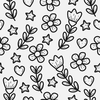 Diseño de patrón de doodle de flor dibujada a mano