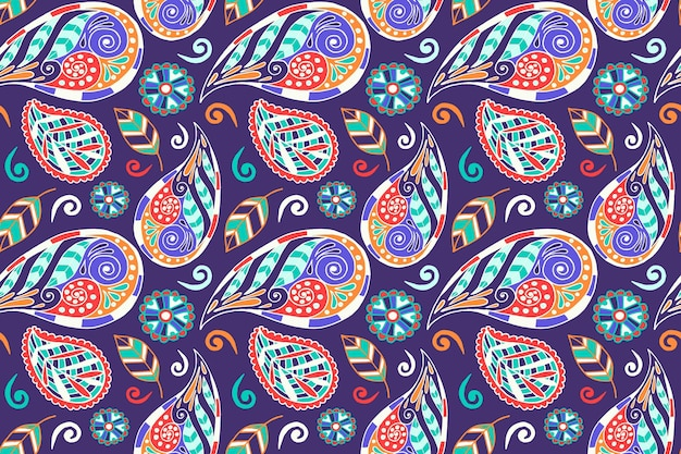 Diseño de patrón étnico paisley colorido