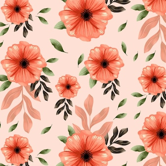 Diseño de patrón floral acuarela pintado a mano en tonos melocotón
