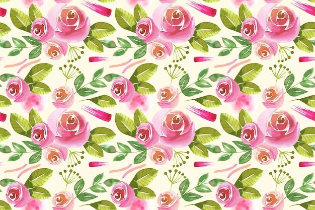 Diseño de patrón floral acuarela