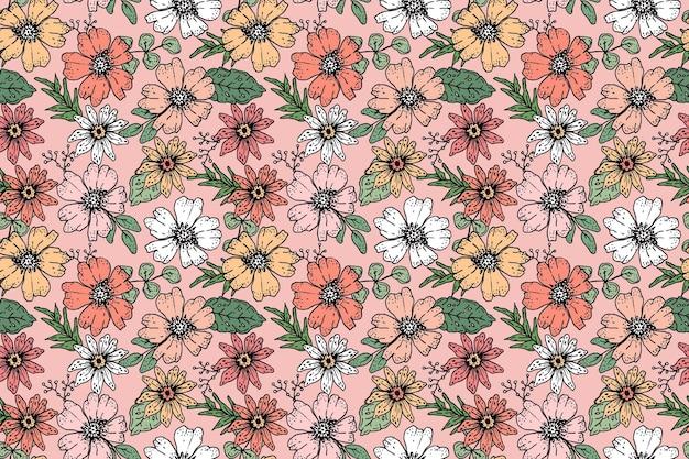 Diseño de patrón floral dibujado a mano en tonos melocotón