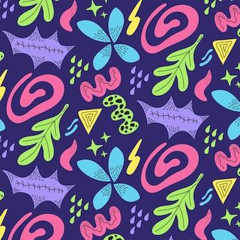 Diseño de patrón de formas abstractas dibujadas a mano