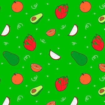 Diseño de patrón de frutas con aguacate