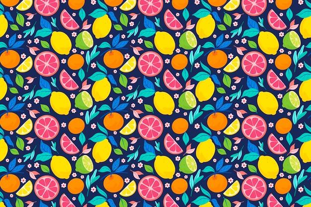 Diseño de patrón de frutas con cítricos