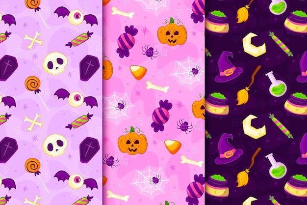 Diseño de patrón de halloween dibujado a mano