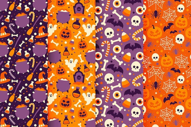 Diseño de patrón de halloween plano dibujado a mano