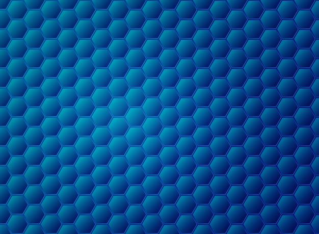 Diseño de patrón de hexágono azul degradado abstracto.