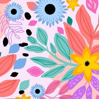 Diseño de patrón de hojas abstractas pintadas a mano