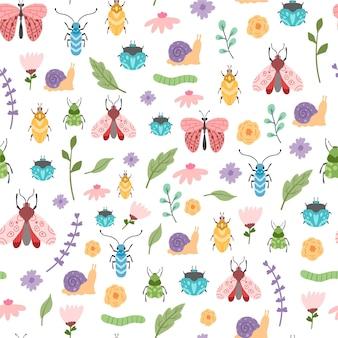 Diseño de patrón de insectos y flores.