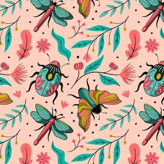 Diseño de patrón de insectos y flores