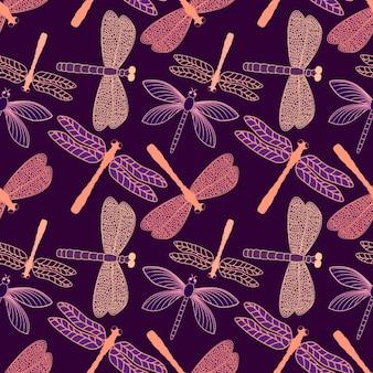 Diseño de patrón de libélulas