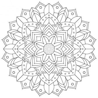 Diseño de patrón de mandala sobre fondo blanco.