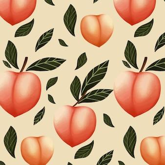 Diseño de patrón de melocotón acuarela pintado a mano