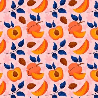 Diseño de patrón de melocotón dibujado a mano