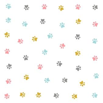 Diseño de patrón de pow colorido lindo gatito