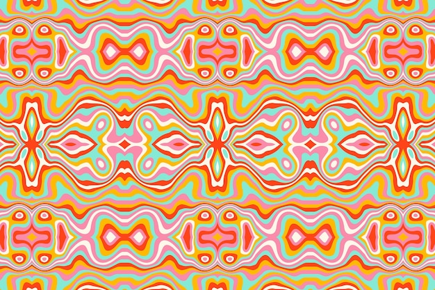 Diseño de patrón psicodélico maravilloso dibujado a mano