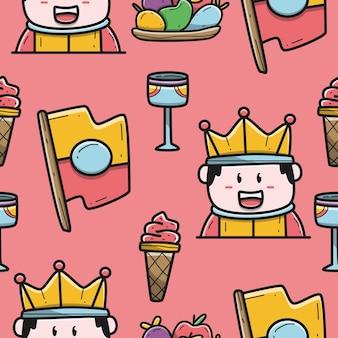 Diseño de patrón de rey doodle de dibujos animados dibujados a mano