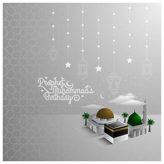 Diseño del patrón de saludo mawlid al nabi con hermosas mezquitas y media luna