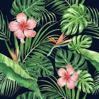 Diseño de patrón tropical con follaje y flor, ilustración.