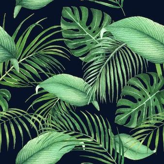 Diseño de patrón tropical con hojas de monstera y hojas de palma, ilustración.