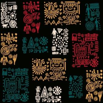 Diseño de patrón de vector con elementos tribales