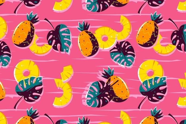 Diseño de patrón de verano con piña