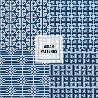 Diseño de patrones azules asiáticos