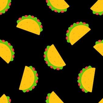Diseño de patrones sin fisuras de comida mexicana taco festivo