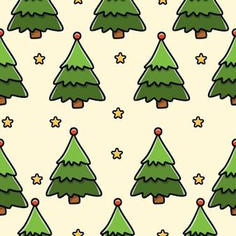 Diseño de patrones sin fisuras de doodle de árbol de navidad