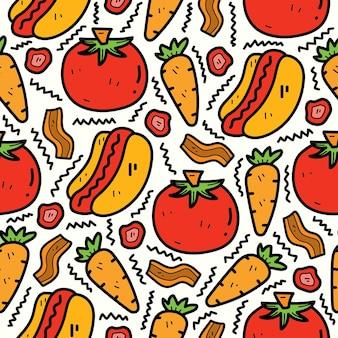 Diseño de patrones sin fisuras de doodle de dibujos animados de hotdog