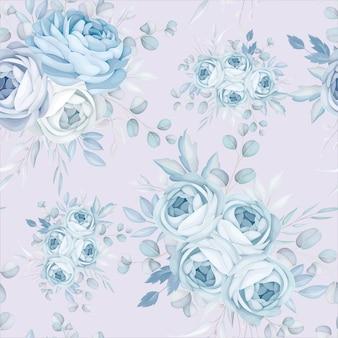 Diseño de patrones sin fisuras floral azul clásico