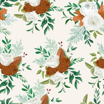 Diseño de patrones sin fisuras florales de otoño dulce con flor de rosa y pino