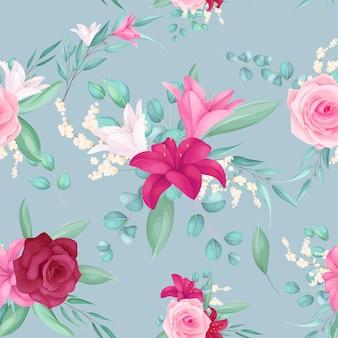 Diseño de patrones sin fisuras con hermosa rosa y flor de lirio