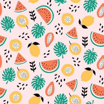 Diseño de patrones sin fisuras de mezcla de frutas tropicales sobre fondo rosa claro